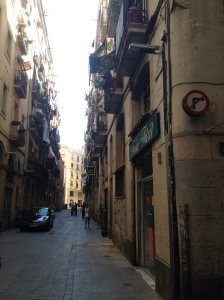 A narrow street somewhere in Barcelona, Spain. 09/07/15
